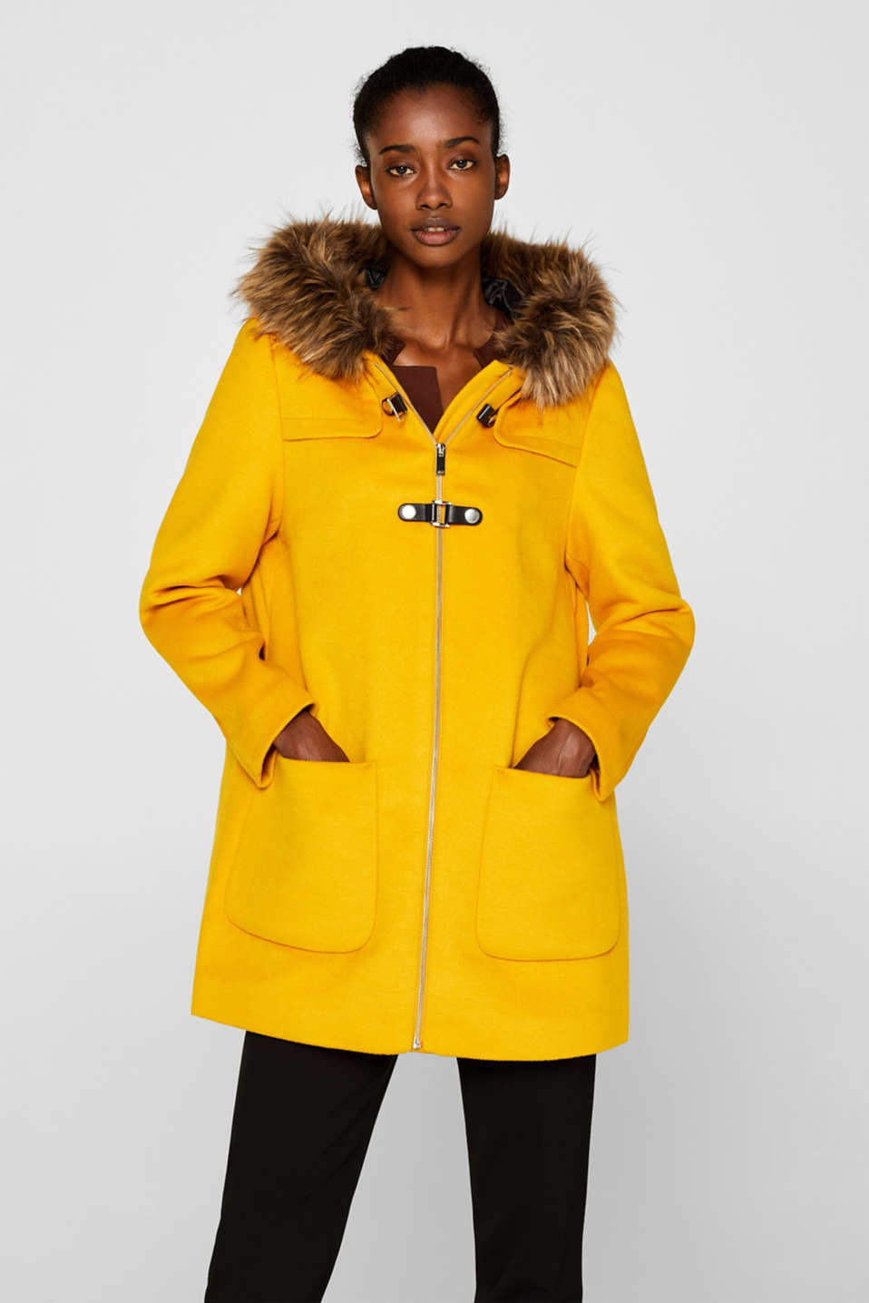 Esprit - Hooded wool blend coat