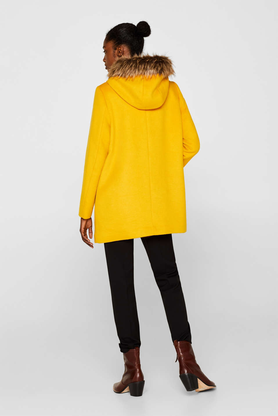 Hooded wool blend coat, AMBER YELLOW, detail image number 3