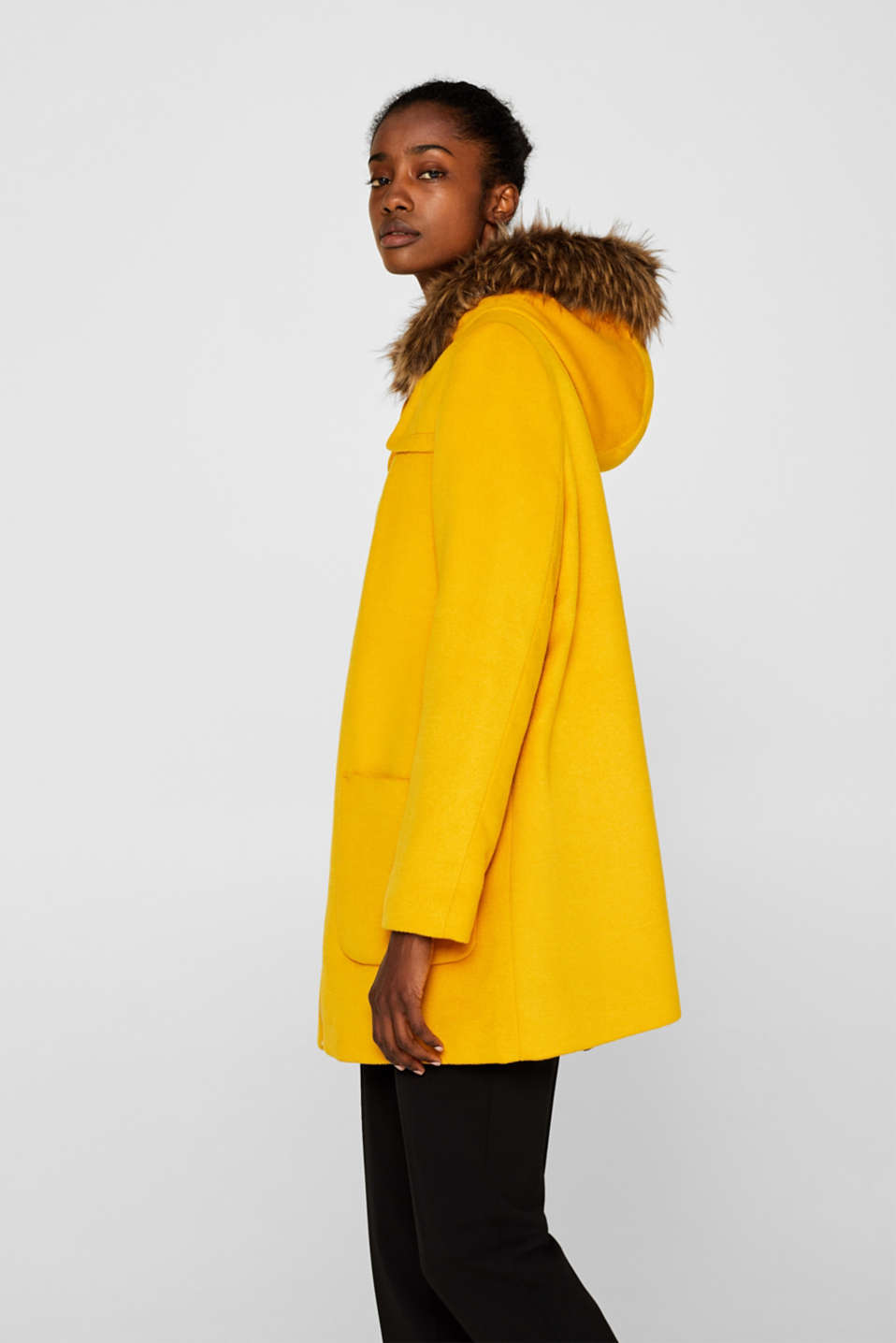 Hooded wool blend coat, AMBER YELLOW, detail image number 5