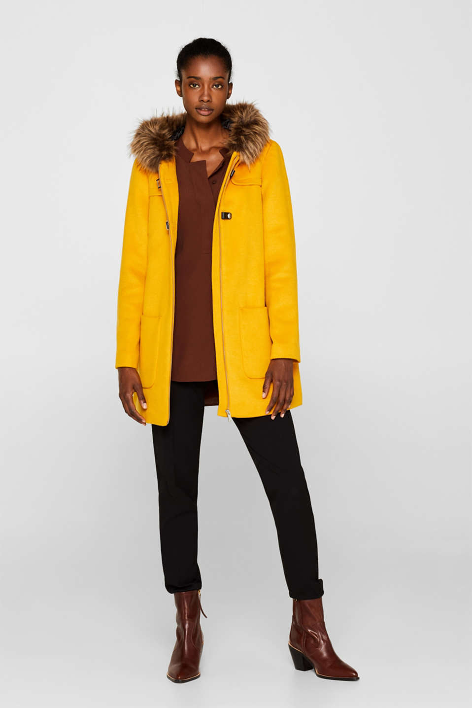 Hooded wool blend coat, AMBER YELLOW, detail image number 1