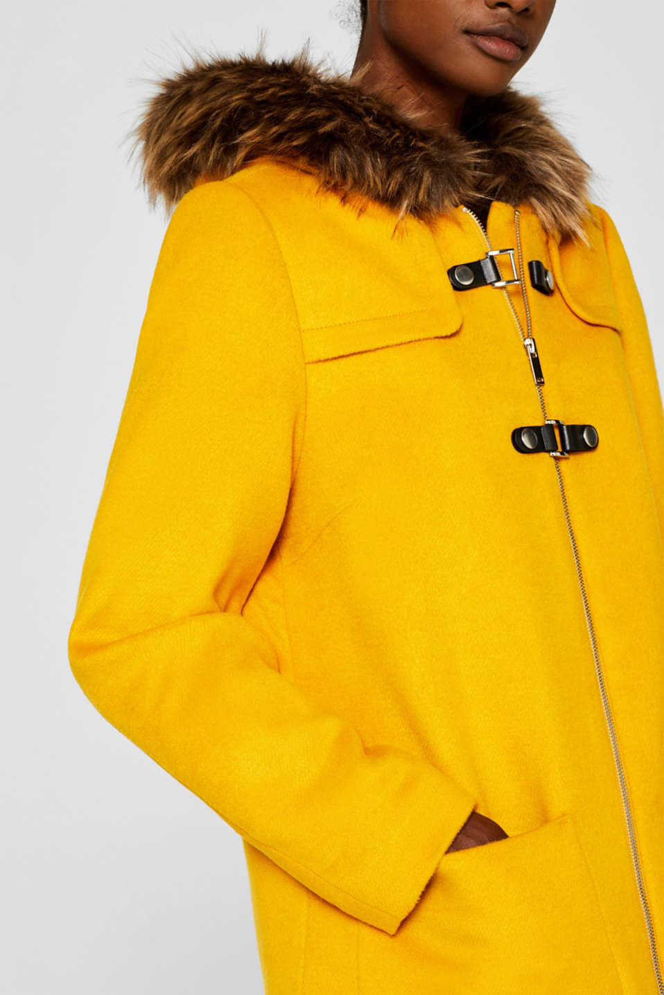 Hooded wool blend coat, AMBER YELLOW, detail image number 2