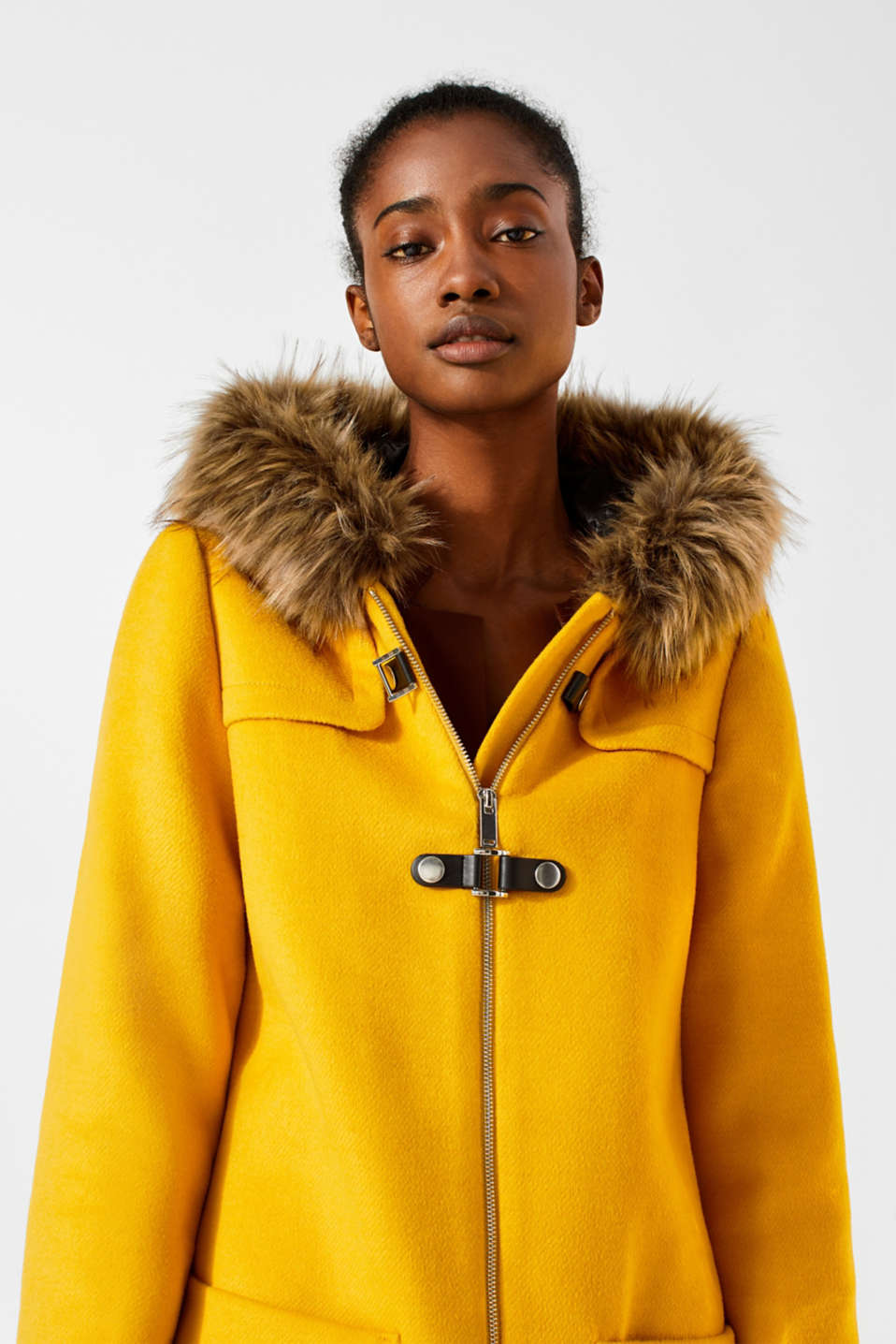 Hooded wool blend coat, AMBER YELLOW, detail image number 6