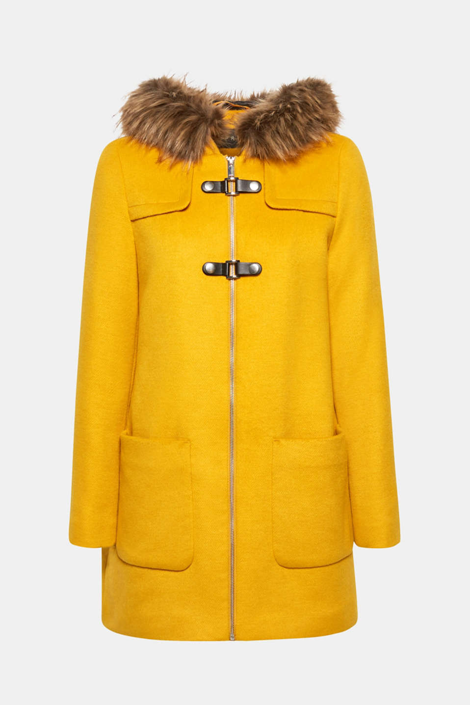 Hooded wool blend coat, AMBER YELLOW, detail image number 7