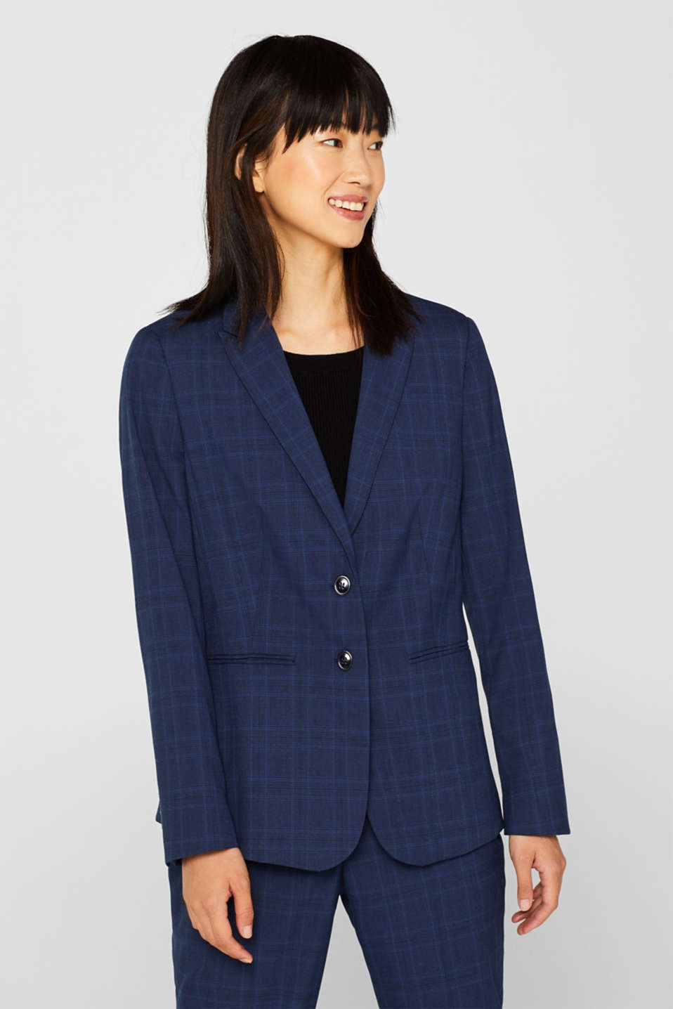 Esprit - INK CHECK Mix + Match Stretch-Blazer