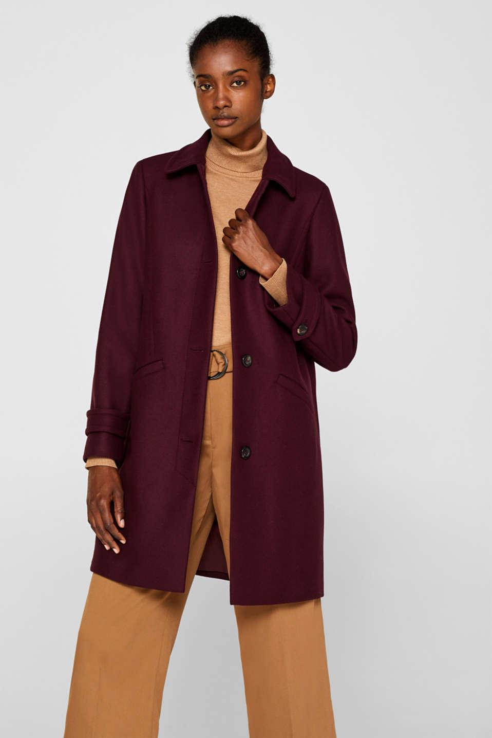 Wool blend coat, BORDEAUX RED, detail image number 0