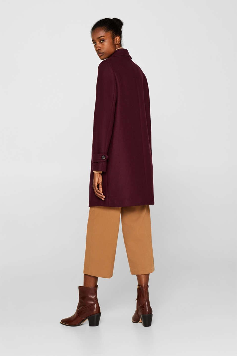 Wool blend coat, BORDEAUX RED, detail image number 3