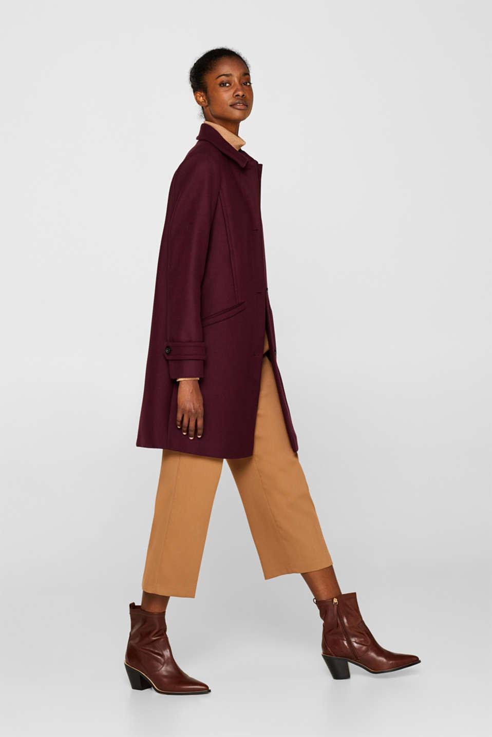 Wool blend coat, BORDEAUX RED, detail image number 5