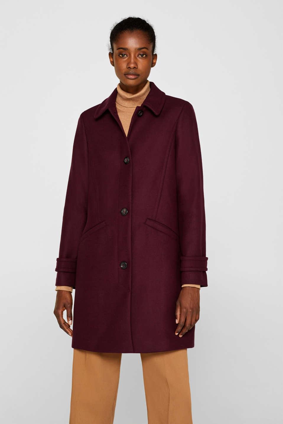 Wool blend coat, BORDEAUX RED, detail image number 6