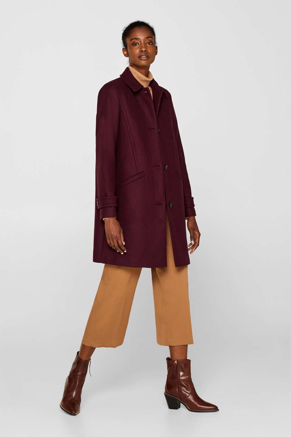 Wool blend coat, BORDEAUX RED, detail image number 1