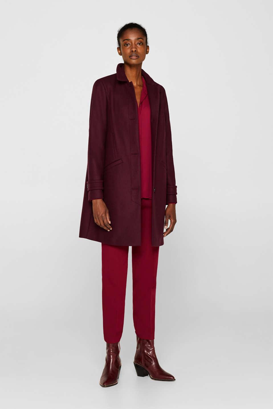 Wool blend coat, BORDEAUX RED, detail image number 7