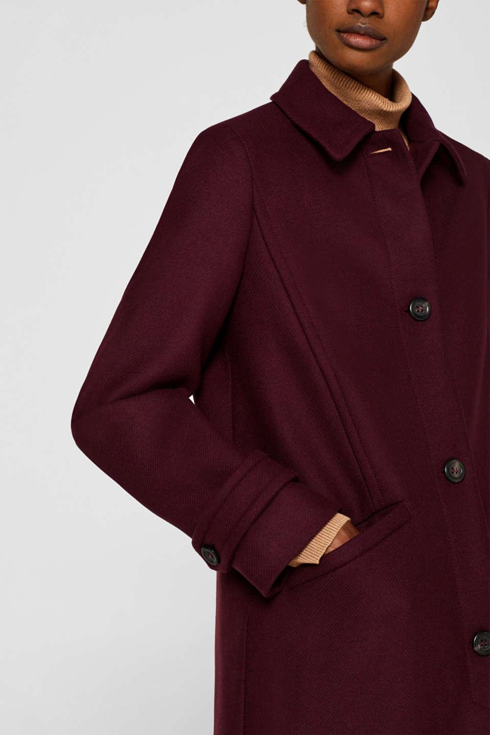 Wool blend coat, BORDEAUX RED, detail image number 2