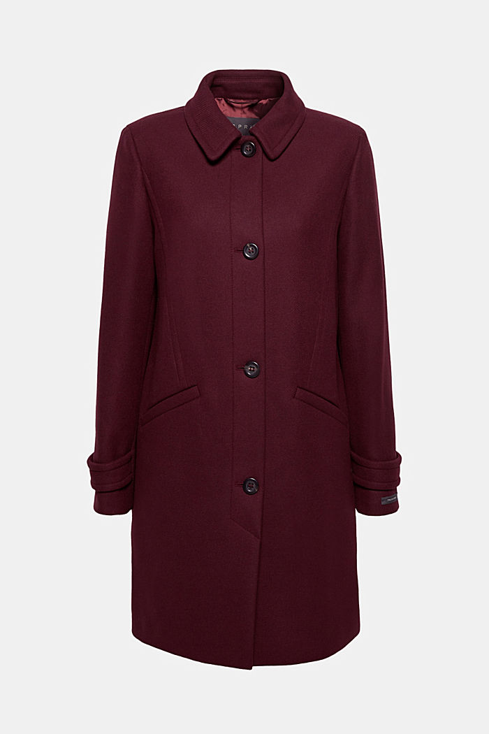Wool blend coat, BORDEAUX RED, overview