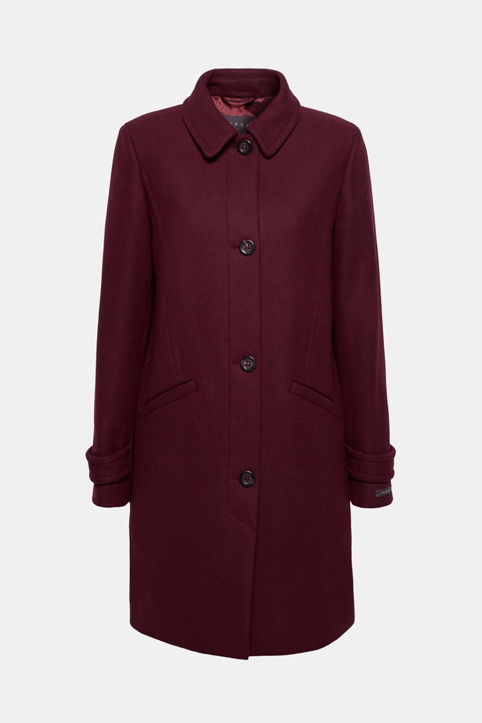 Wool blend coat, BORDEAUX RED, detail image number 8