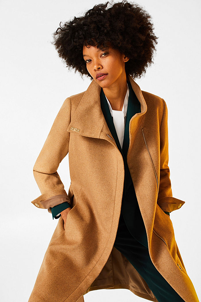 With wool: Coat with tie-around belt, CAMEL, detail image number 5