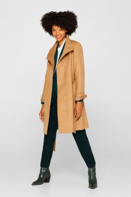 With wool: Coat with tie-around belt, CAMEL, detail