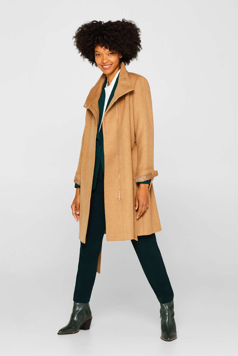 With wool: Coat with tie-around belt, CAMEL, detail image number 1