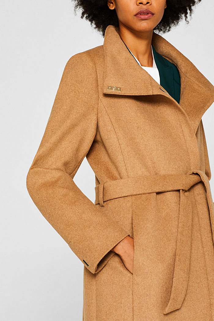 With wool: Coat with tie-around belt, CAMEL, detail image number 2