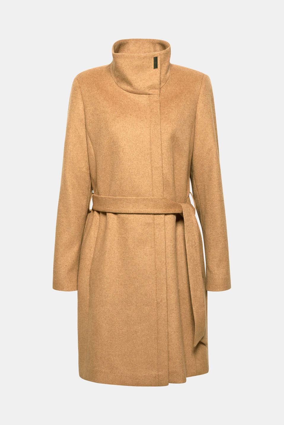 With wool: Coat with tie-around belt, CAMEL, detail image number 7