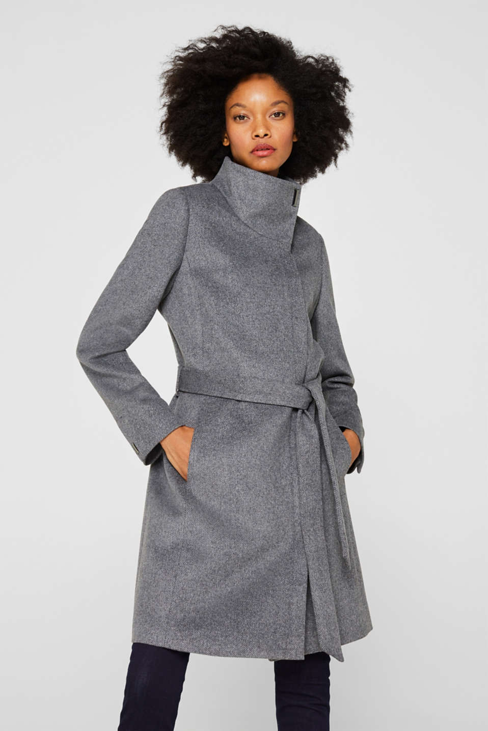 Esprit - With wool: Coat with tie-around belt