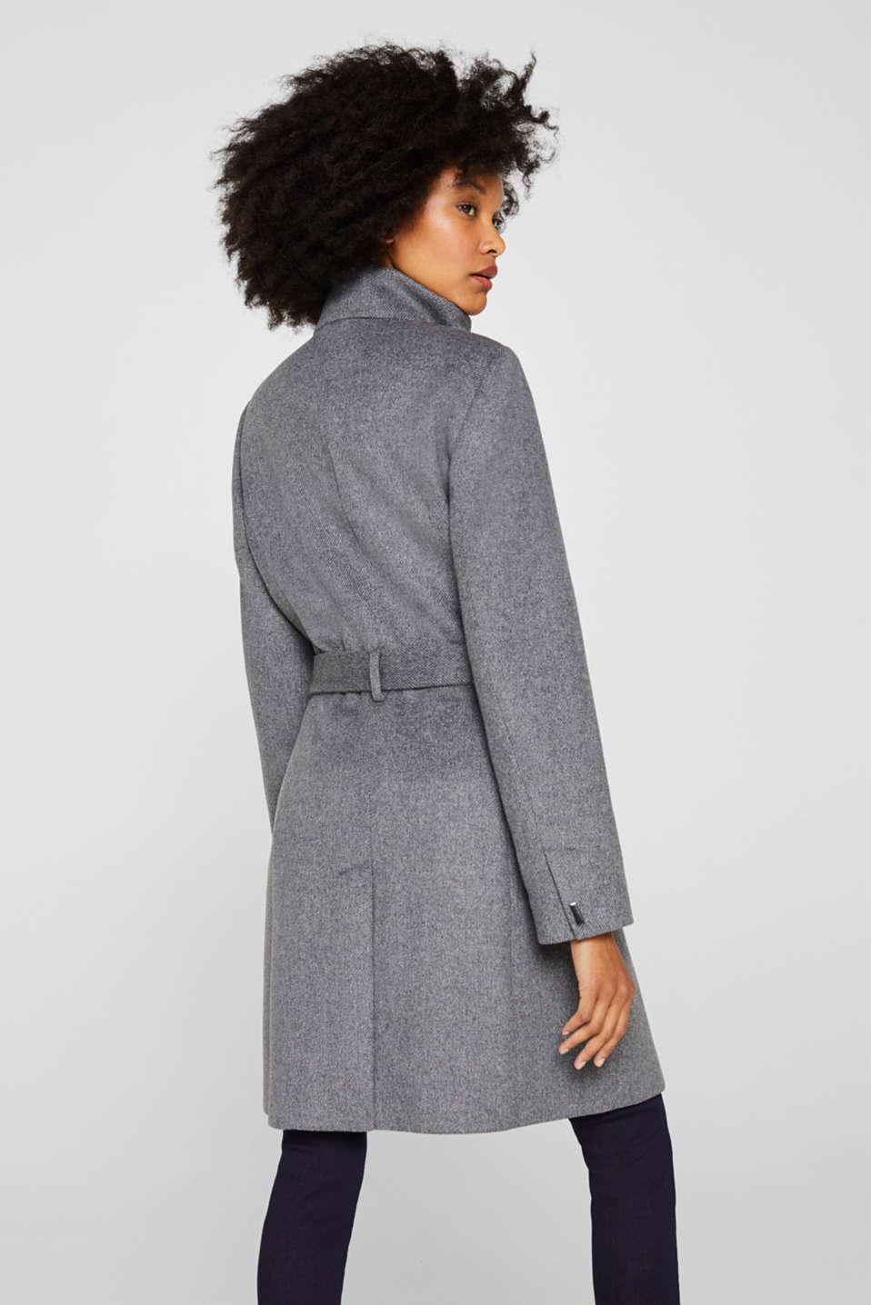 With wool: Coat with tie-around belt, GUNMETAL 5, detail image number 3