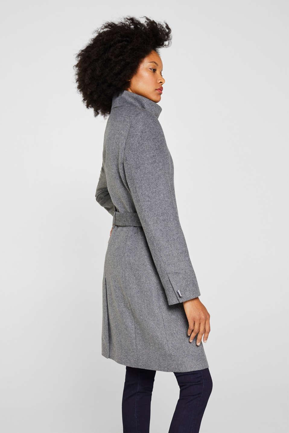 With wool: Coat with tie-around belt, GUNMETAL 5, detail image number 5
