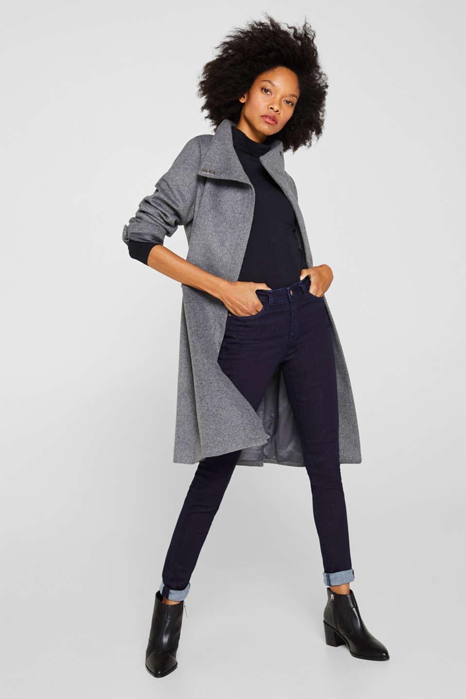 With wool: Coat with tie-around belt, GUNMETAL 5, detail image number 6