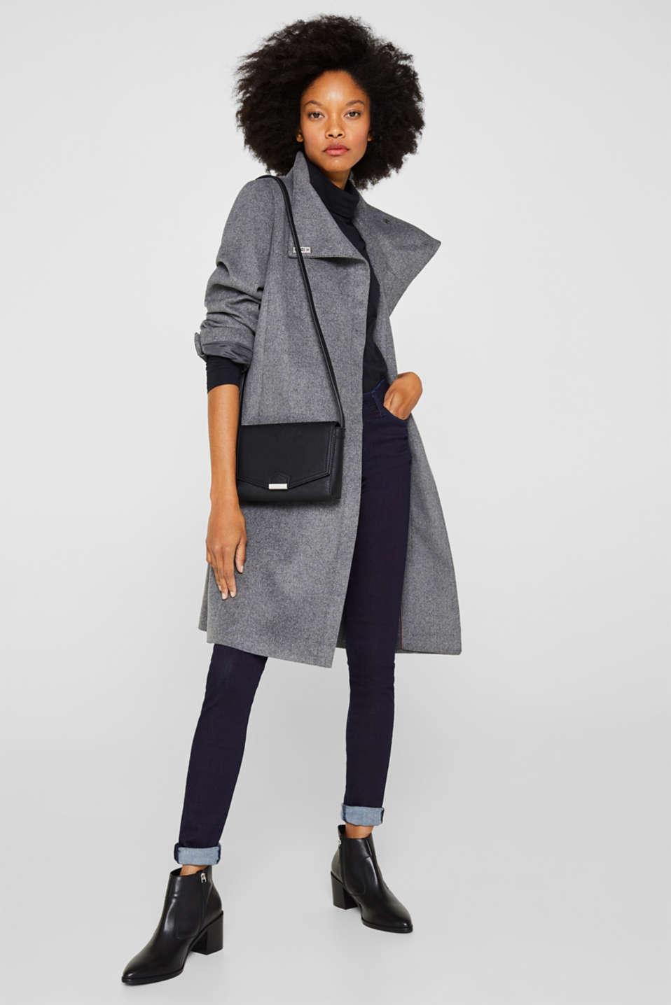 With wool: Coat with tie-around belt, GUNMETAL 5, detail image number 1