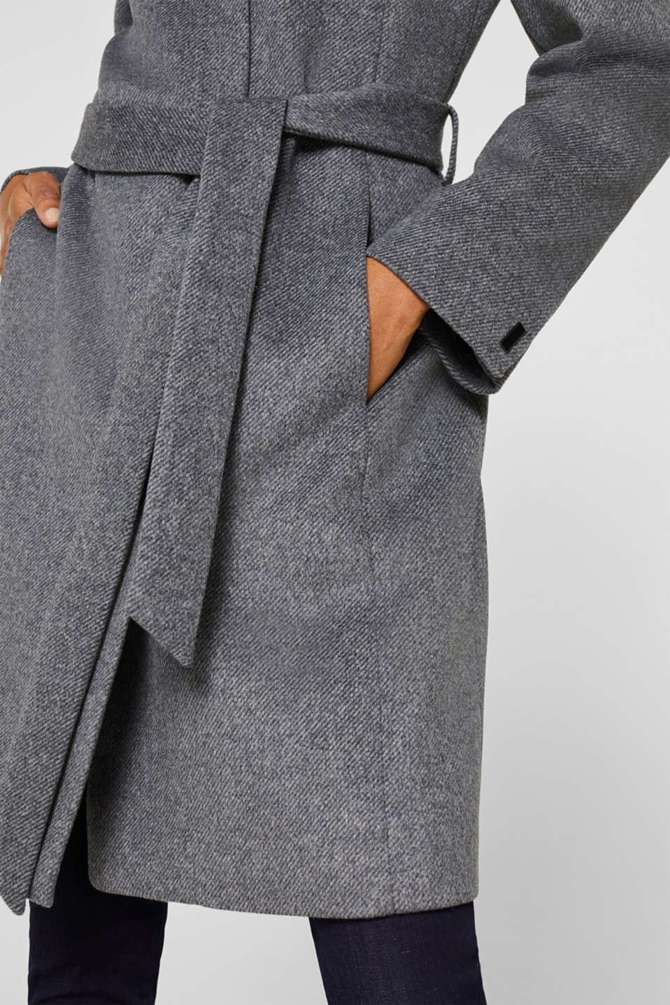 With wool: Coat with tie-around belt, GUNMETAL 5, detail image number 2