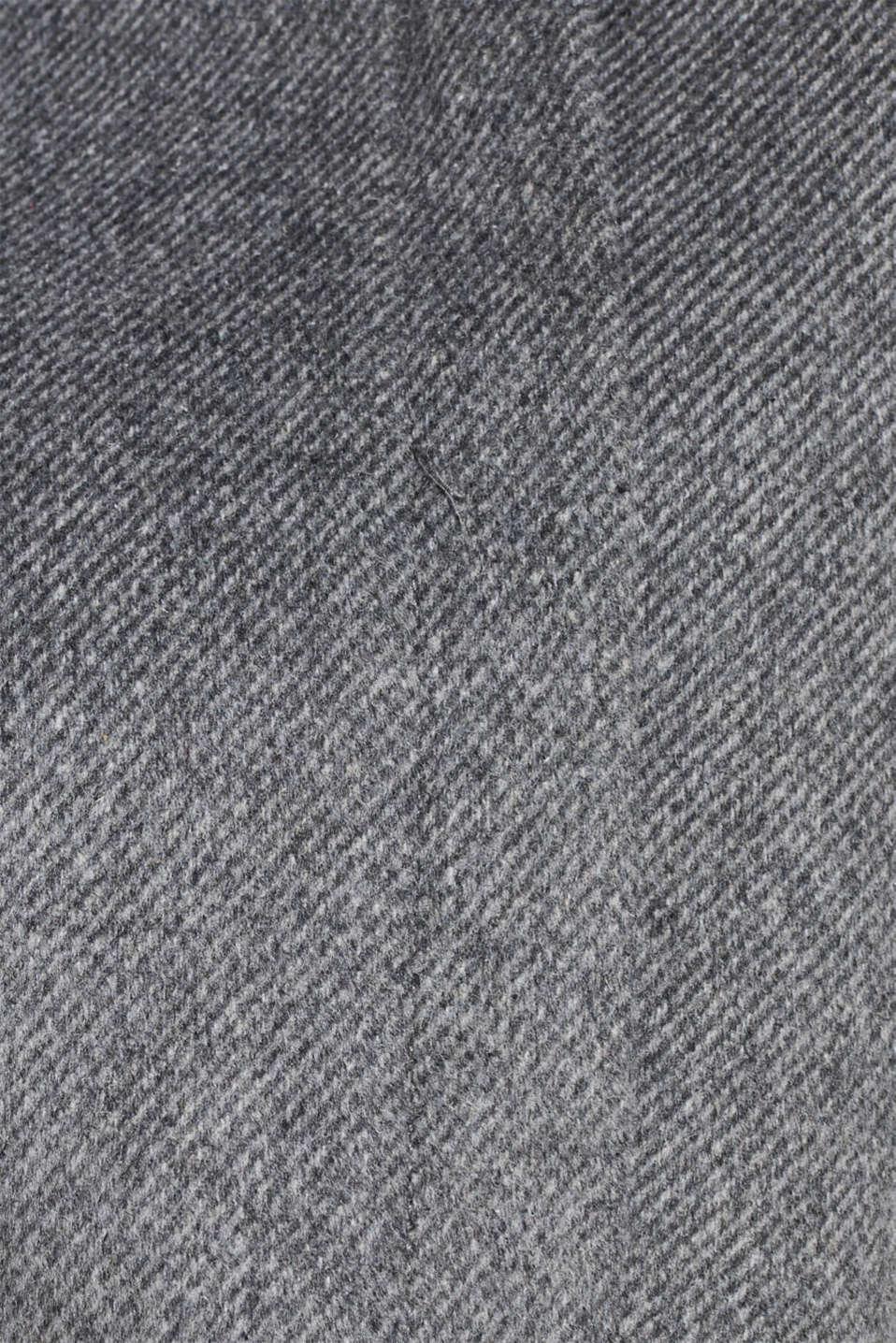 With wool: Coat with tie-around belt, GUNMETAL 5, detail image number 4