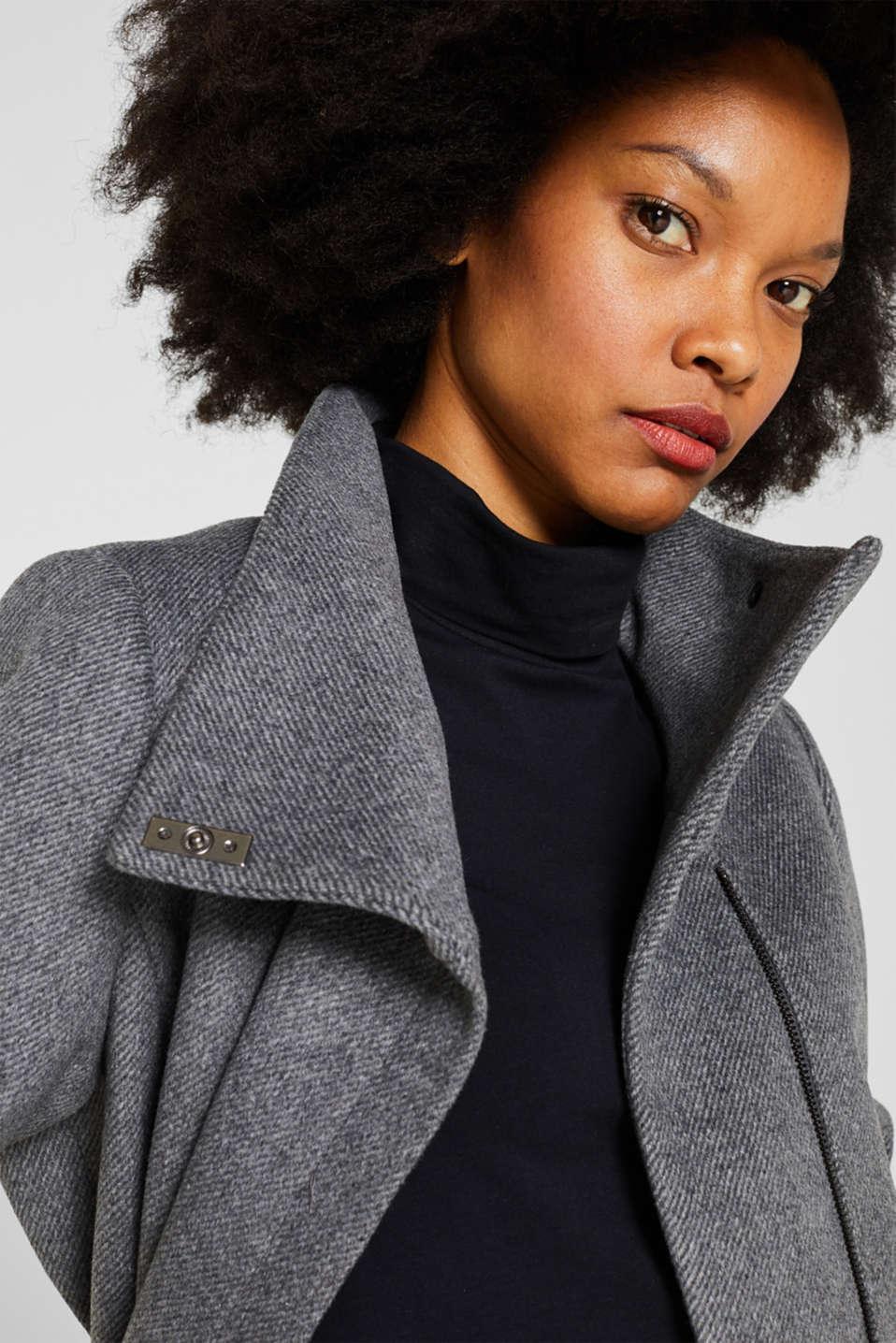 With wool: Coat with tie-around belt, GUNMETAL 5, detail image number 7