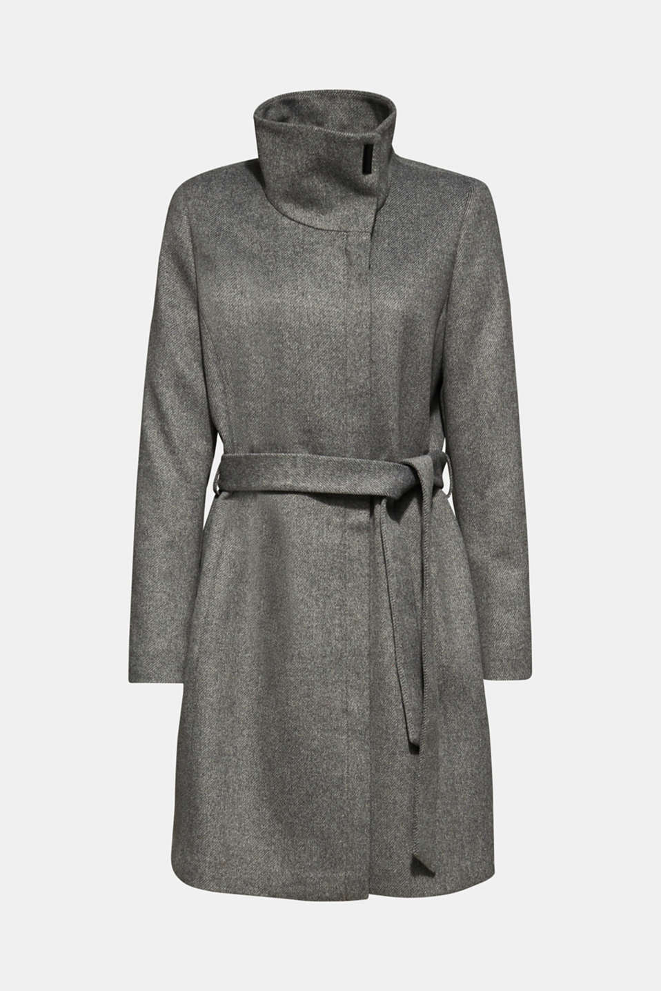 With wool: Coat with tie-around belt, GUNMETAL 5, detail image number 8