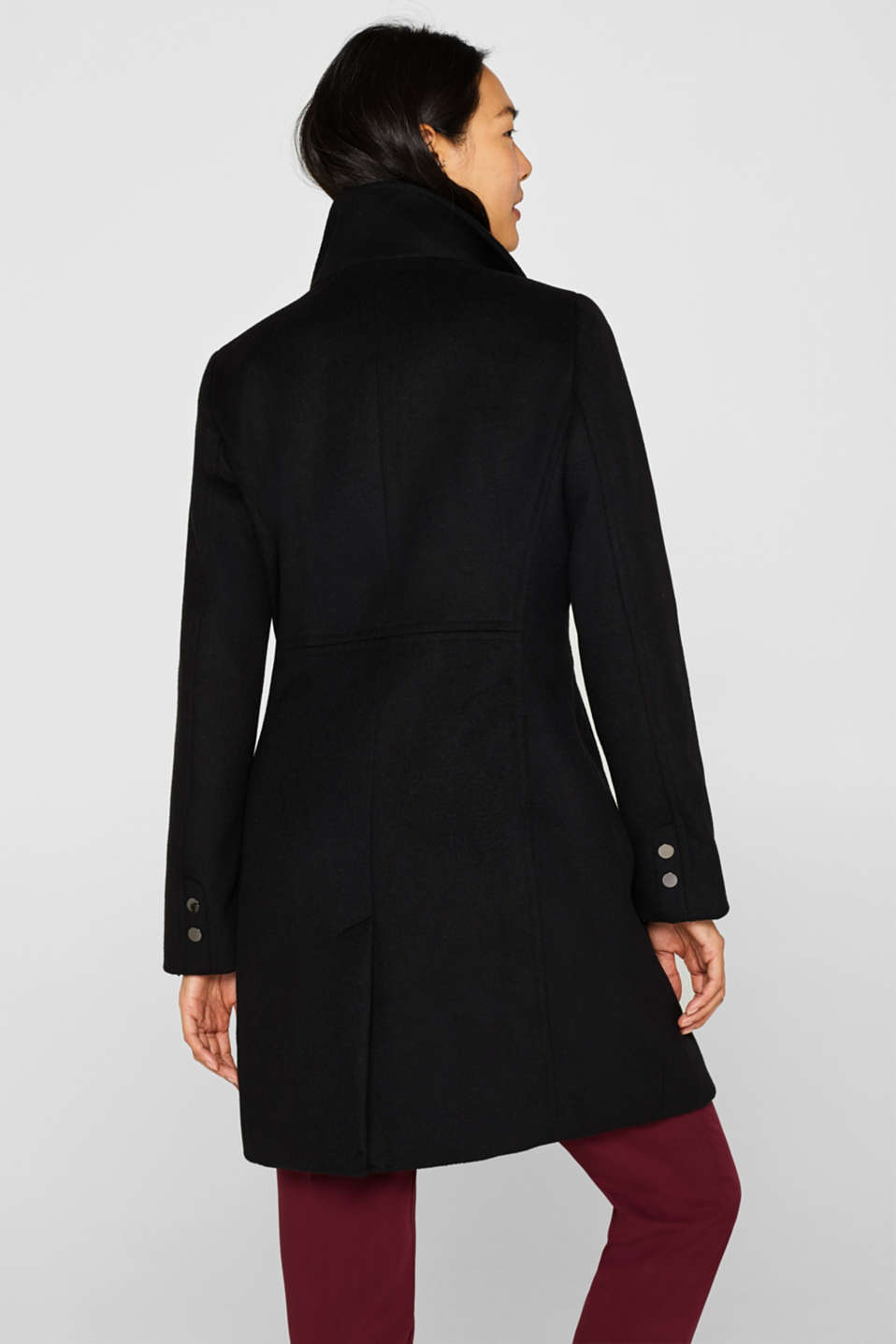 With wool: coat with a wide collar, BLACK, detail image number 3
