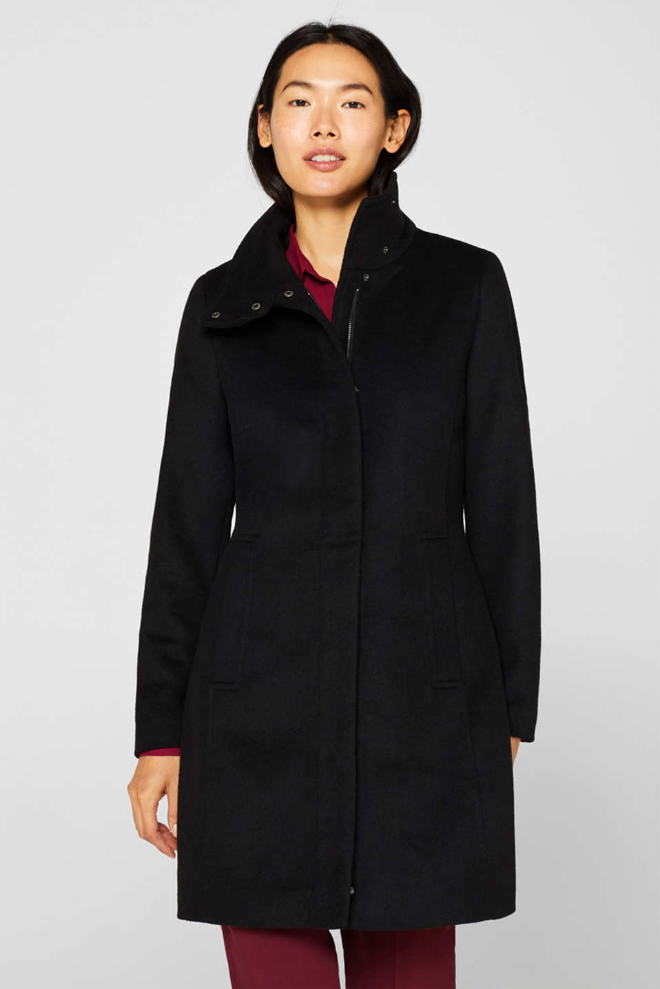 With wool: coat with a wide collar, BLACK, detail image number 5