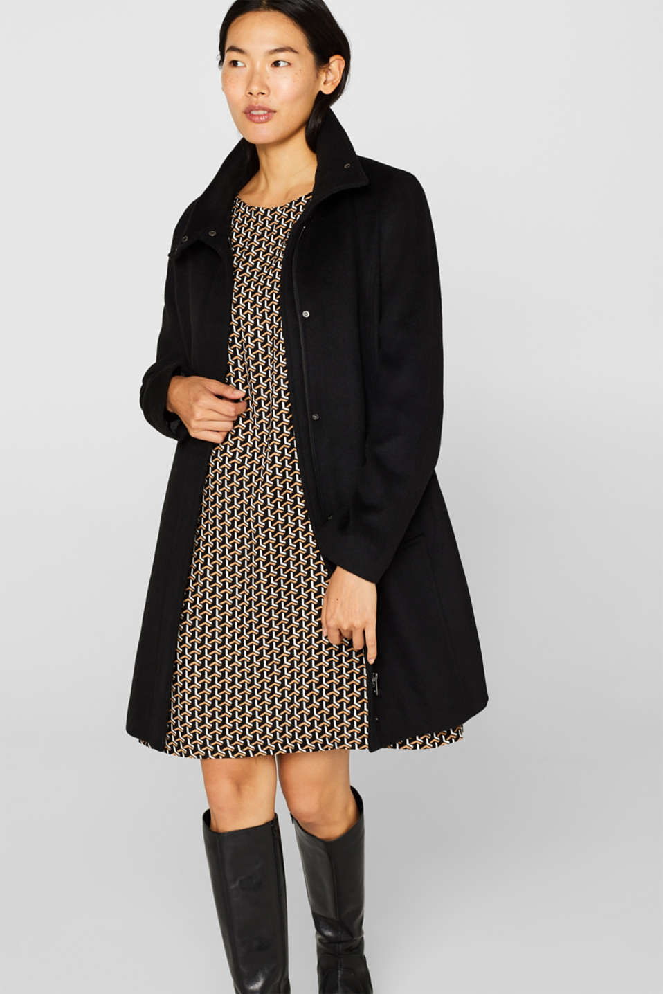 With wool: coat with a wide collar, BLACK, detail image number 7