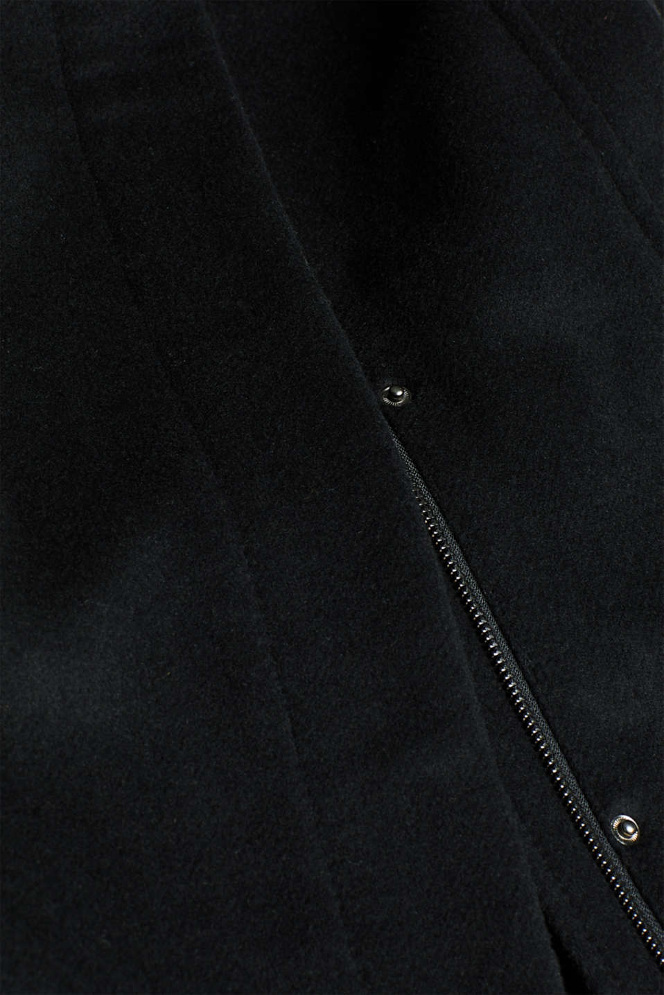With wool: coat with a wide collar, BLACK, detail image number 4