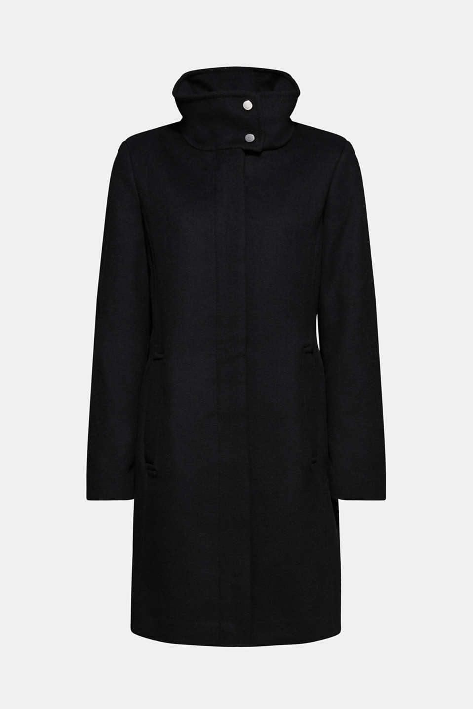 With wool: coat with a wide collar, BLACK, detail image number 8