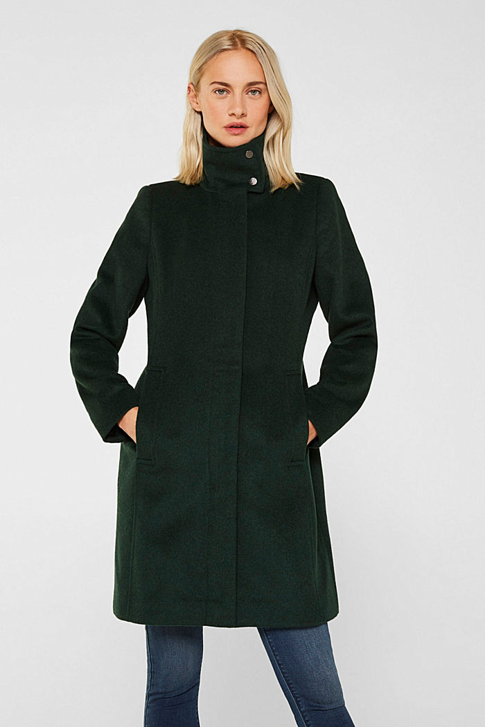Wool blend: coat with a stand-up collar, BOTTLE GREEN, detail image number 0