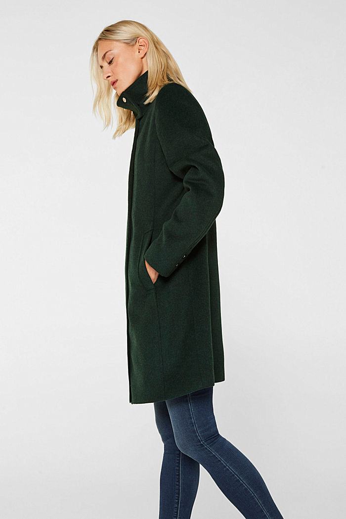 Wool blend: coat with a stand-up collar, BOTTLE GREEN, detail image number 5