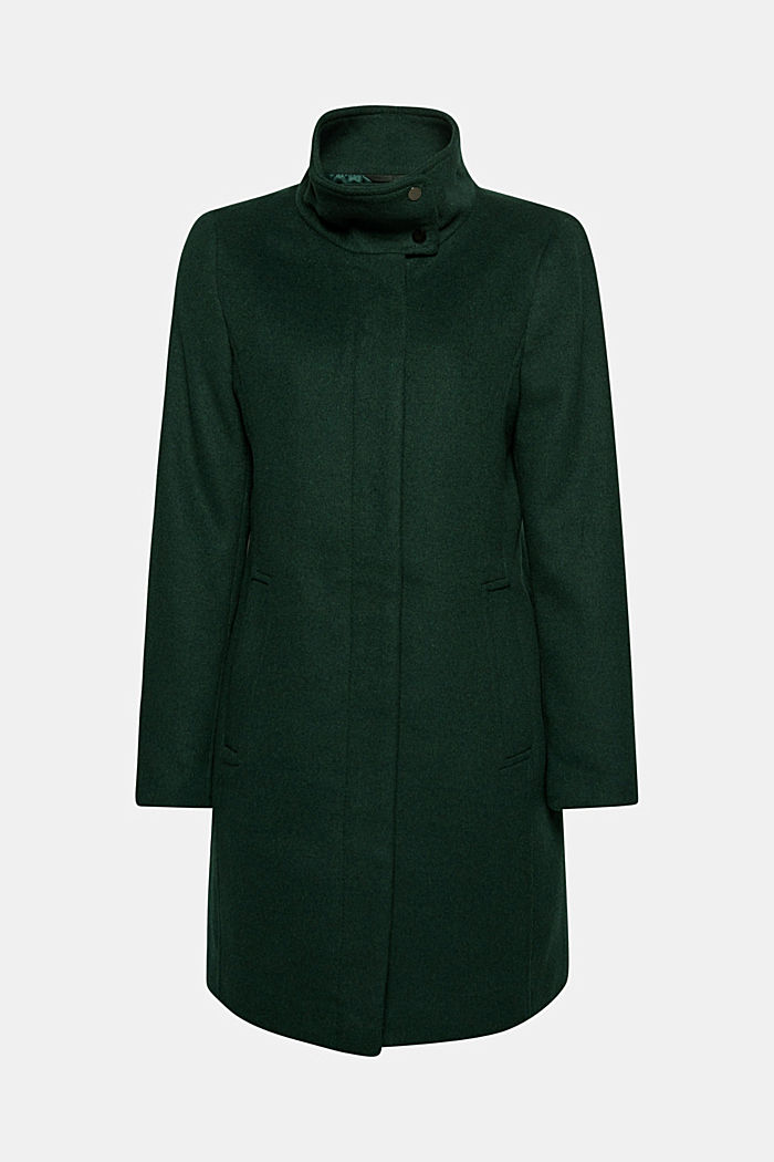 Wool blend: coat with a stand-up collar, BOTTLE GREEN, detail image number 7