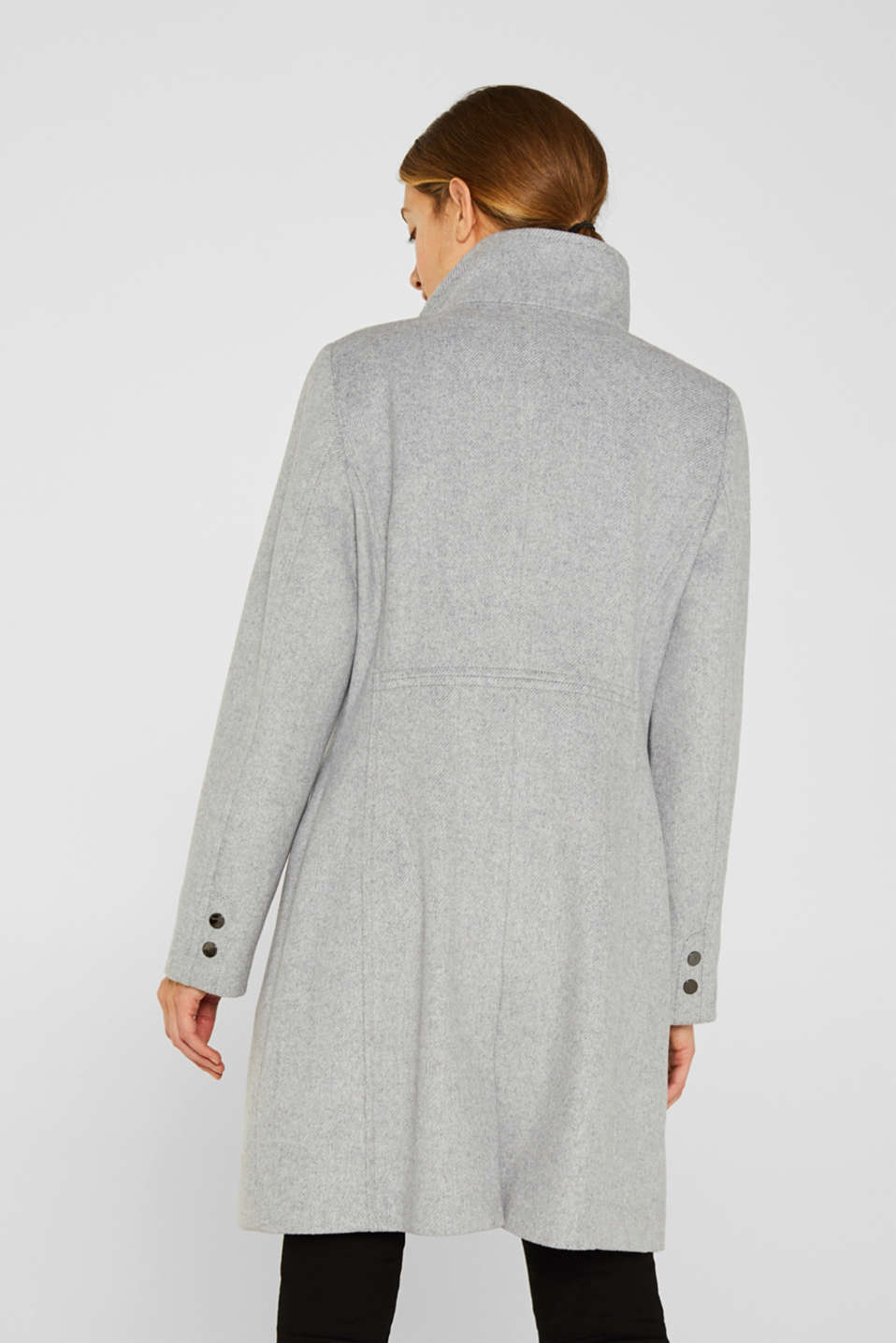 Wool blend: coat with a stand-up collar, LIGHT GREY 5, detail image number 2