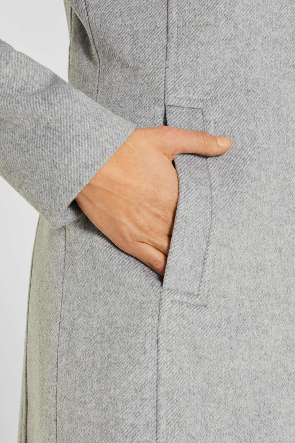 Wool blend: coat with a stand-up collar, LIGHT GREY 5, detail image number 1