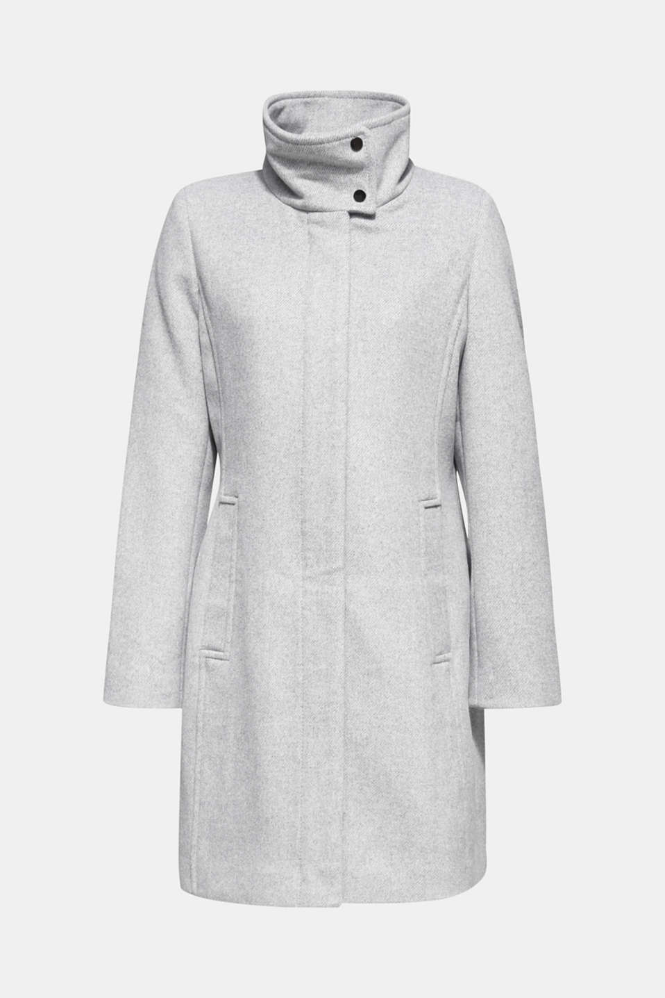 Wool blend: coat with a stand-up collar, LIGHT GREY 5, detail image number 5