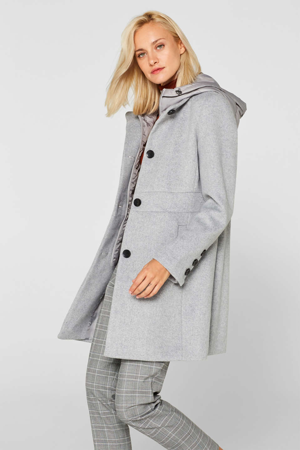 With wool: coat with a hood and quilted details, LIGHT GREY 5, detail image number 0