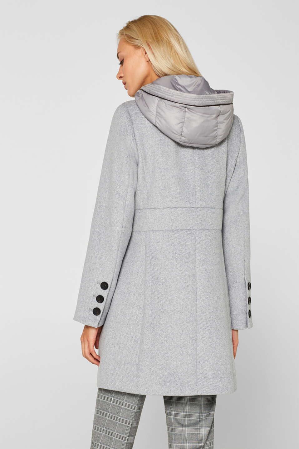 With wool: coat with a hood and quilted details, LIGHT GREY 5, detail image number 3