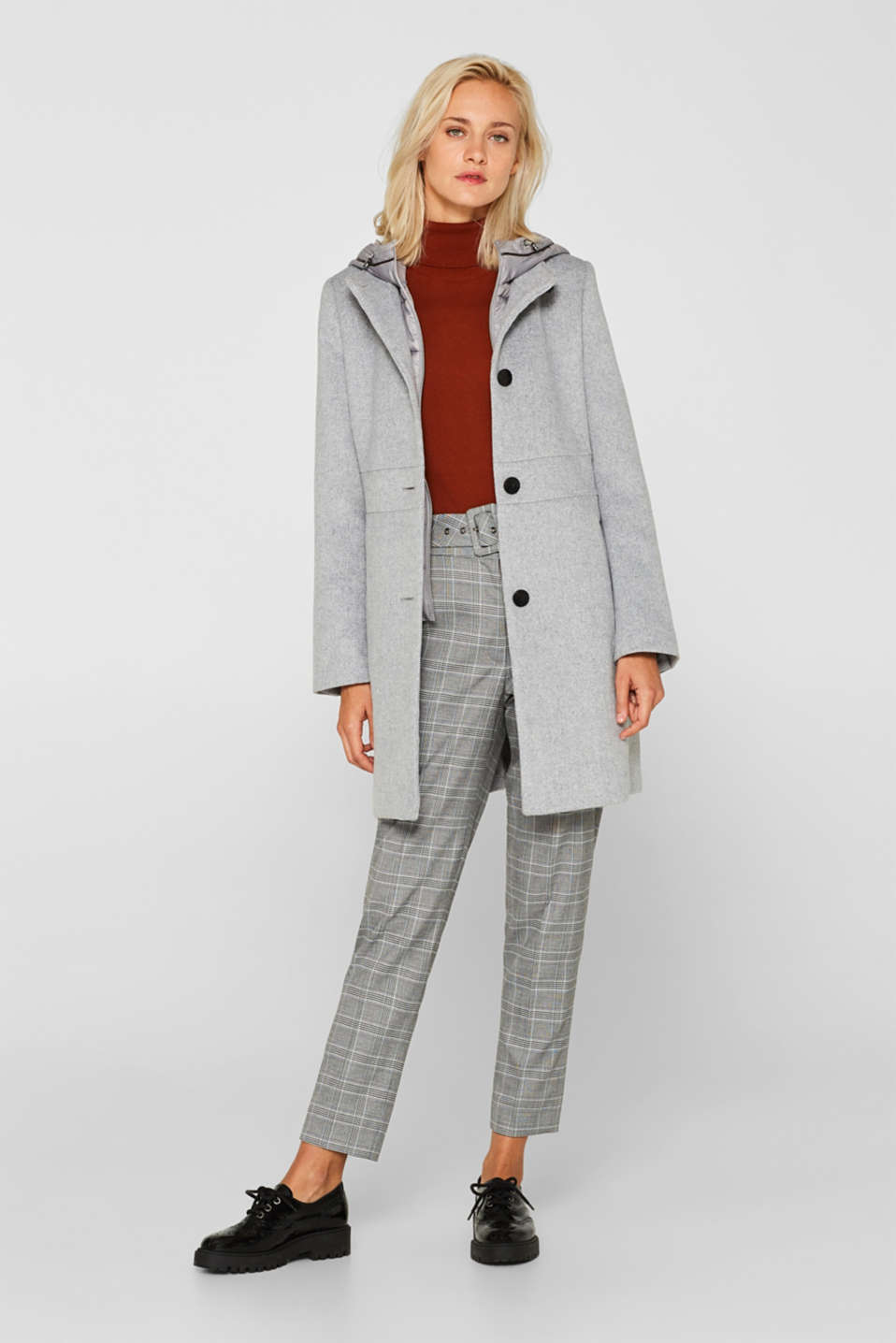 With wool: coat with a hood and quilted details, LIGHT GREY 5, detail image number 1