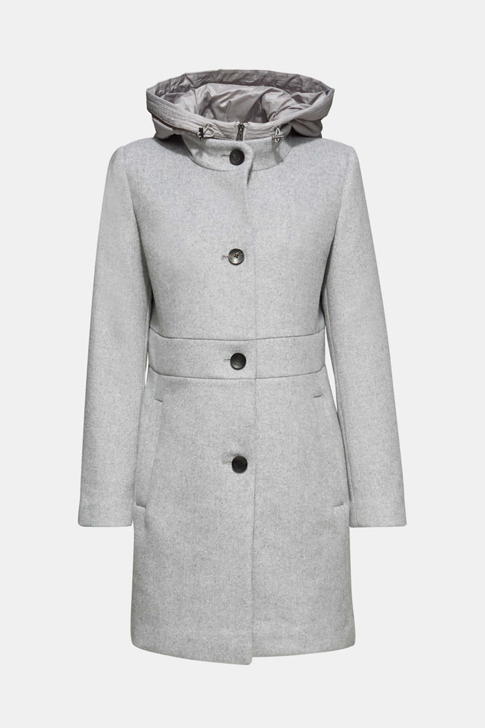 With wool: coat with a hood and quilted details, LIGHT GREY 5, detail image number 5