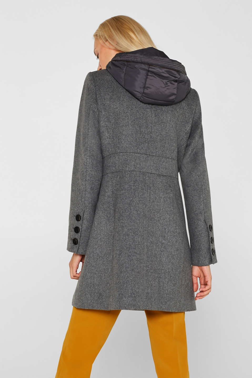 With wool: coat with a hood and quilted details, GUNMETAL 5, detail image number 3