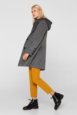 With wool: coat with a hood and quilted details, GUNMETAL 5, detail
