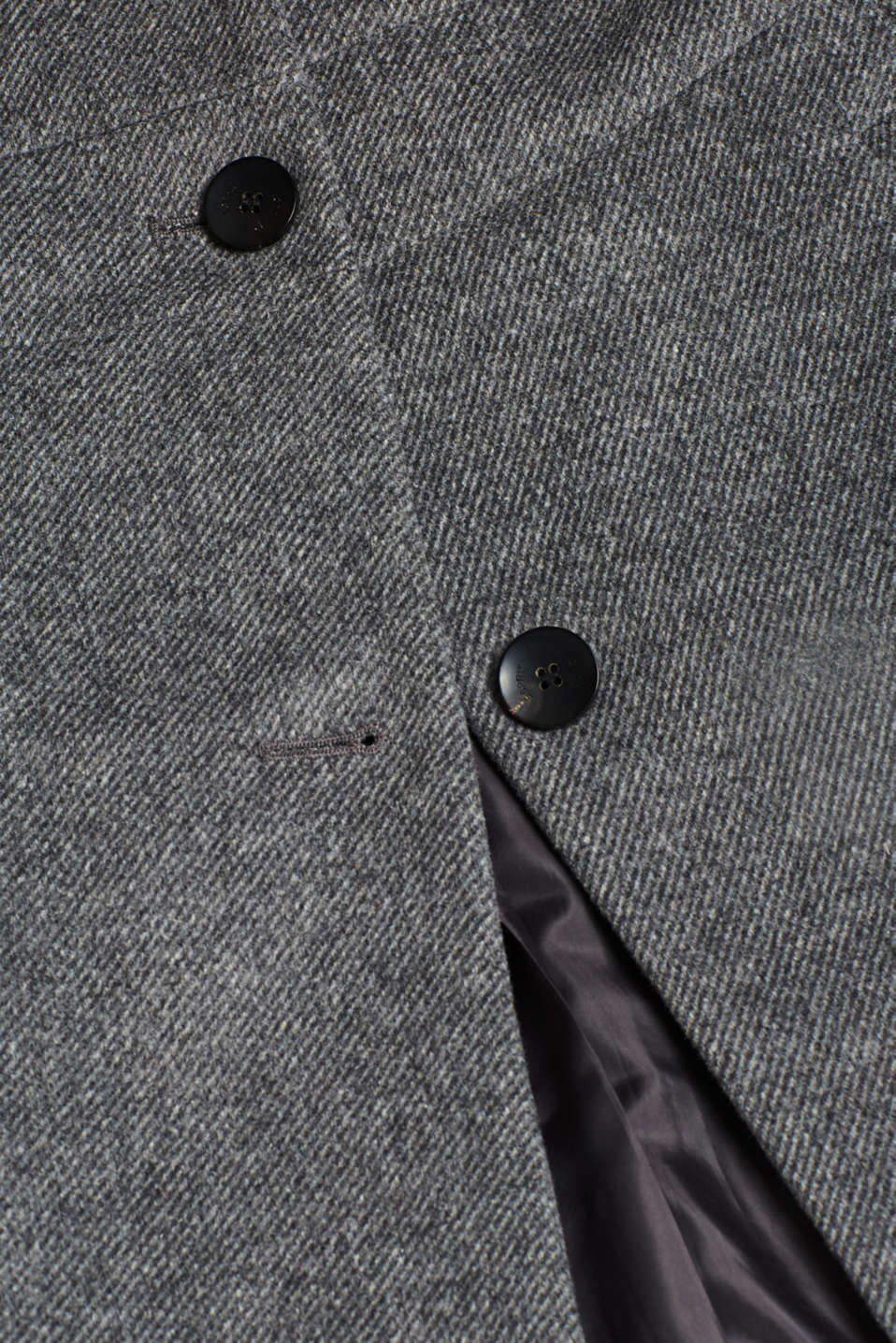 With wool: coat with a hood and quilted details, GUNMETAL 5, detail image number 4