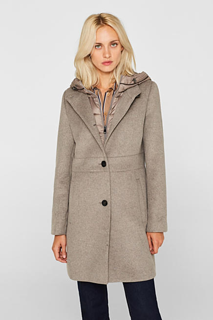 Manteau court gris laine